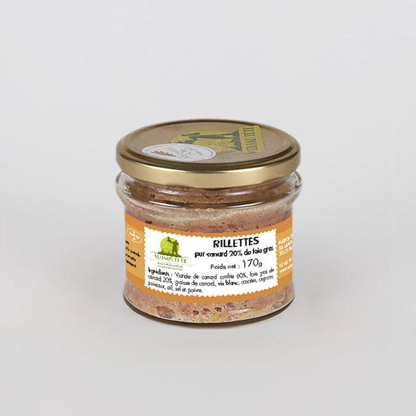 Bocal de rillettes pur canard au foie gras